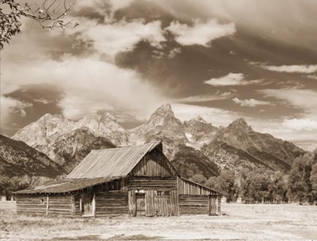 Tetons and Barn Wyoming